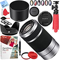 Sony SEL55210 55-210mm f/4.5-6.3 OSS E-Mount Lens (Silver) with 49mm Filter Sets Plus Accessories Bundle