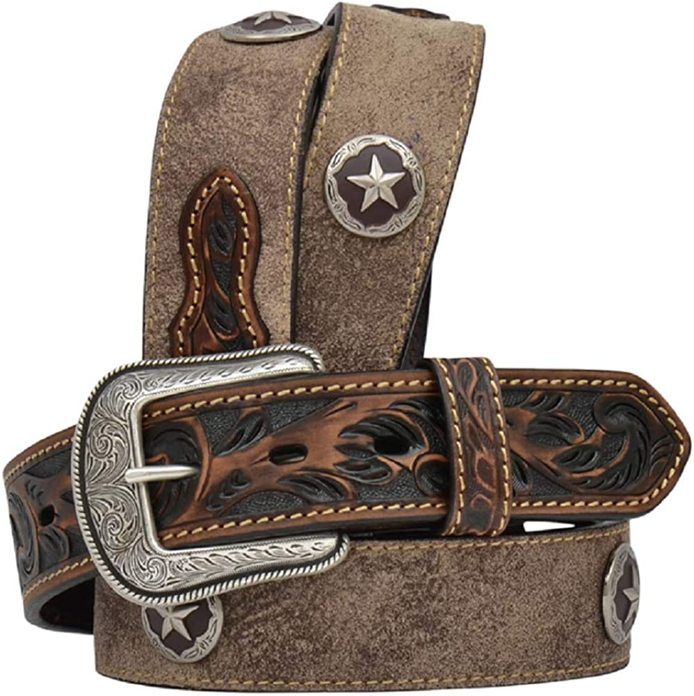 3D Mens 1 1//2 x 36 Distressed Brown Tooled Floral Leather Star Concho Western Belt
