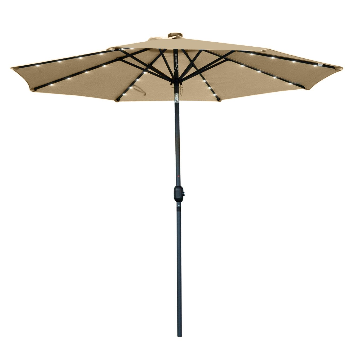 Snail 9' Solar Powered LED Patio Umbrella with 32 Lights, Fade Resistant Garden Aluminum Table Umbrella with Push Button Tilt, Beige