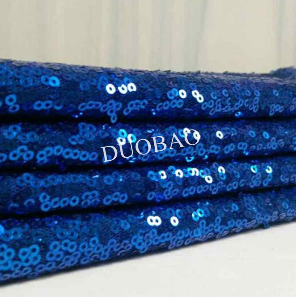 DUOBAO Royal Blue Sequin Fabric for Sewing Glitter Backdrop Royal Blue 10 Yards Sequin Material Fabric 2 Way Stretch Sequin Fabric by The Yard