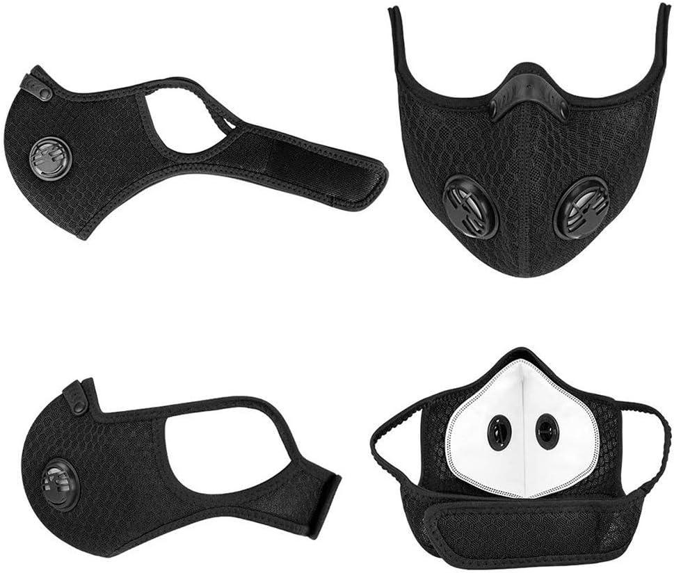 Masques De Sport R/éutilisables en Poussi/ère De Charbon Actif Masques Anti-Poussi/ère avec Deux Valves Respiratoires Adapt/és Aux Activit/és De Plein Air LUOXU Masques Anti-Poussi/ère