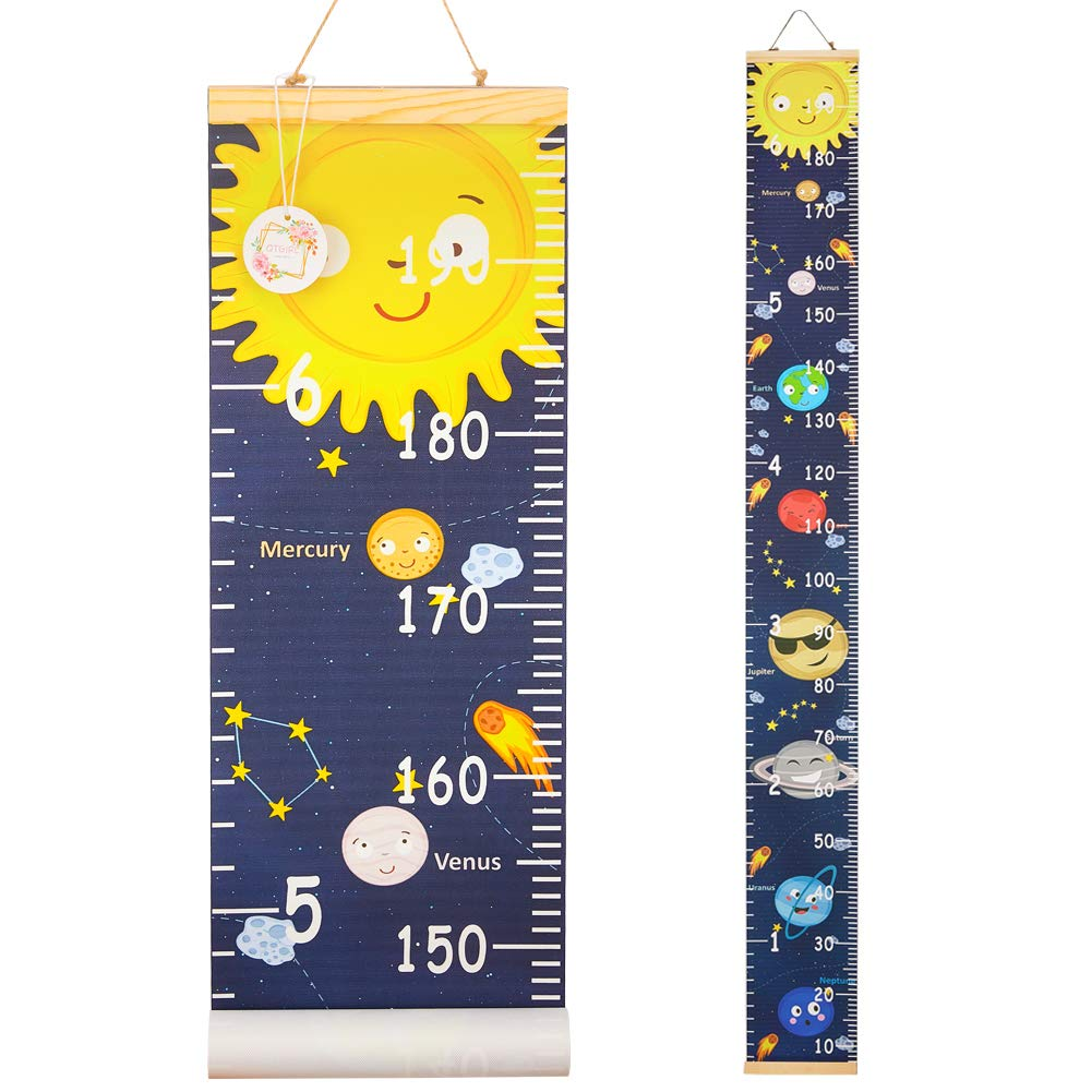 QtGirl Kids Growth Chart, Height Chart for Child Height Measurement Wall Hanging Rulers Room Decoration for Girls, Boys, Toddlers(Sun)