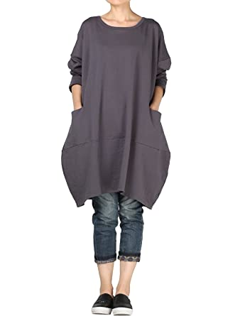 Vogstyle Damen 2018 Neue Langärmelige Tunika Tops mit Zwei Seite große  Taschen Kleid: Amazon.de: Bekleidung