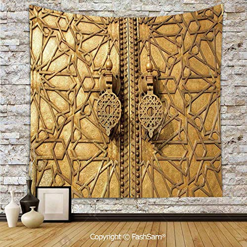 FashSam Tapestry Wall Blanket Wall Decor Main Golden Gates of Royal Palace in Marrakesh Morocco Travel Tourist Attraction Home Decorations for Bedroom(W51xL59)