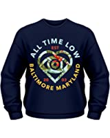 Plastic Head Men's All Time Low Vacation Heart CSW Banded Collar Long Sleeve Sweatshirt