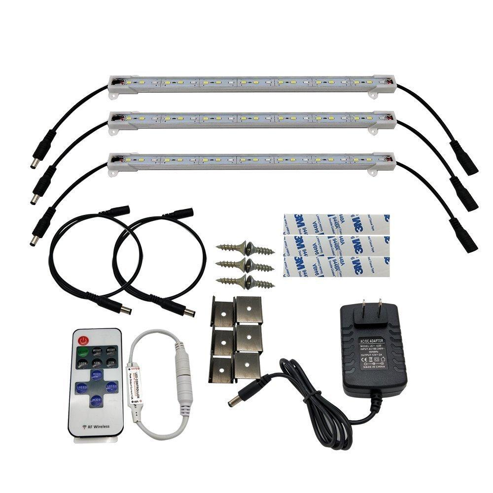 HAMRVL 5730 Aquarium Coral LED Strip Light Spool Waterproof LED Plant Grow String Lights DC 12V 1ft 3Pcs with Power and Remote (2Blue 1White)