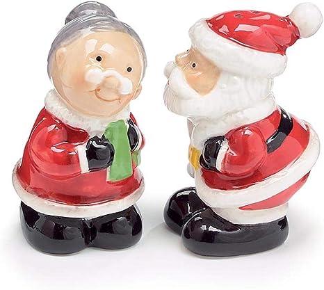 Kissing Santa Mrs Claus Salt Pepper Shaker Set Kitchen Dining