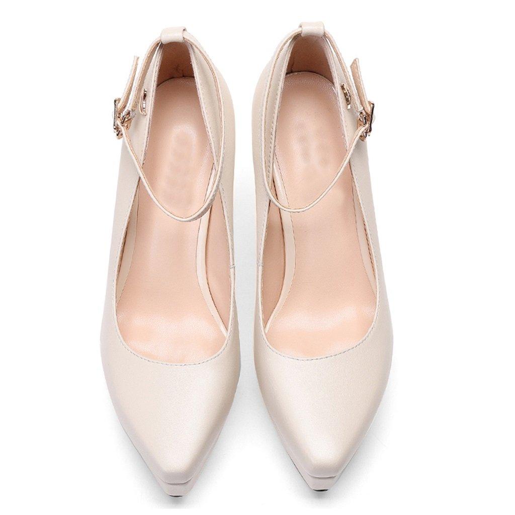 YUBIN Frühling Schuhe Wilde Dicke Fersen Fersen Fersen Stöckelschuhe Leder Schnalle Flach Mund Quadrat Wasserdicht Einzigen Schuhe Weiblich (Farbe   Weiß größe   36) 0bec13