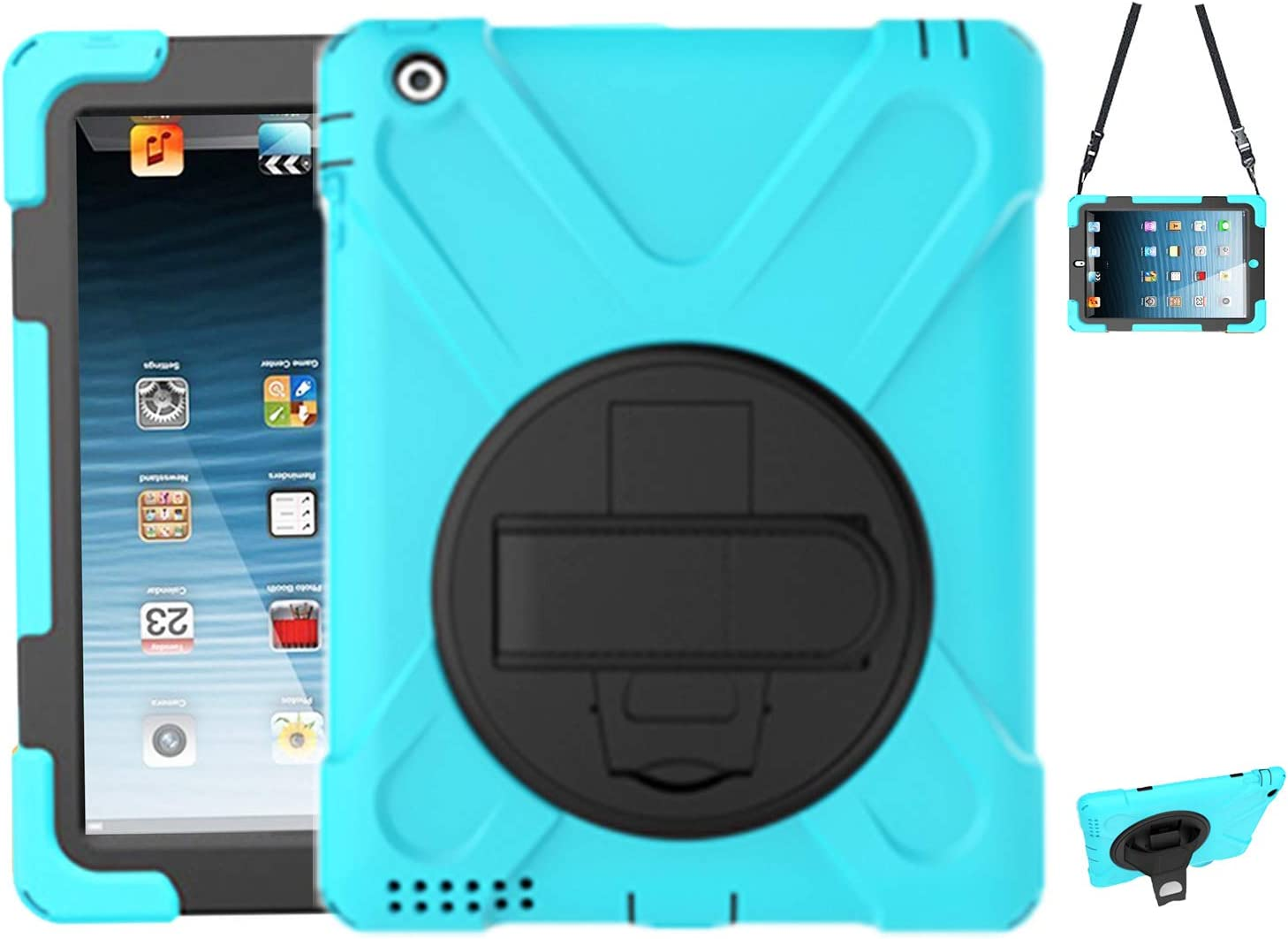 iPad 2 Kids Case,Case for iPad 2/3/4 TSQ Hybrid Heavy Duty High Impact Resistant Shockproof Drop Protection Case with Swivel Stand/Handle Hand Strap/Shoulder Strap for iPad A1395,A1396,A1397,SkyBlue