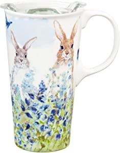 Bunnies in Meadow Ceramic Travel Cup - 4 x 5 x 7 Inches