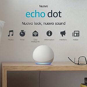 Nuovo Echo Dot (4ª generazione) - Altoparlante intelligente con Alexa - Bianco ghiaccio