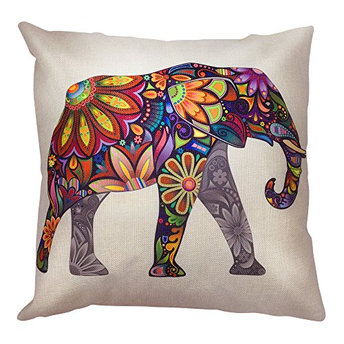 Arundeal Colorful Flower Elephant 18 x 18 Decorative Square Cotton Linen Throw Pillow Covers
