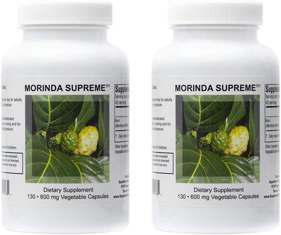 Supreme Nutrition Morinda Supreme Dual Pack 130 Whole Noni Fruit 730 mg Capsules 2190 mg per Serving