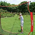 Ollieroo 7'x7' Baseball and Softball Practice Net for Hitting, Pitching, Backstop Screen Equipment Training Aids Red / Black, Includes Carry Bag