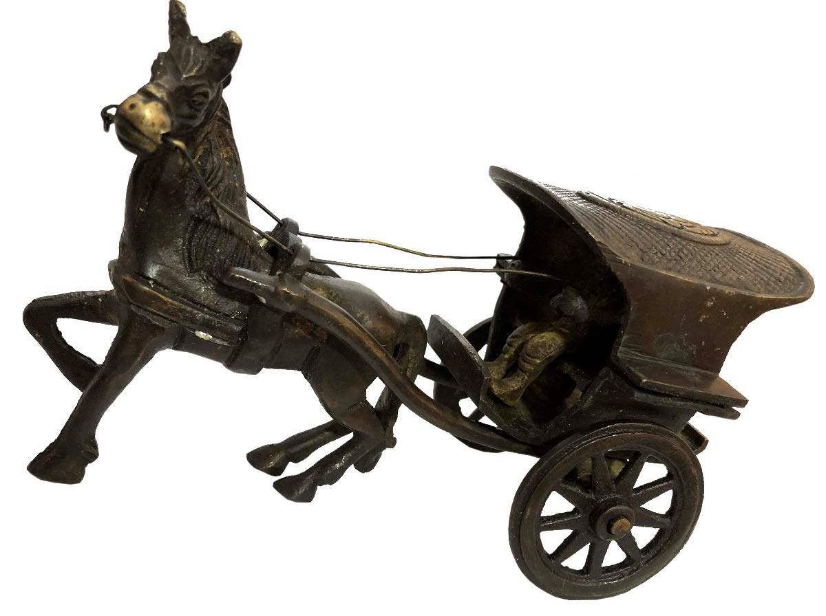 Antiques World Antique Horse Cart Decorative Showpiece Made in Brass Traditional Design Gift and Décor Figurine for Hotel, Home and Office AWUSAAS 027