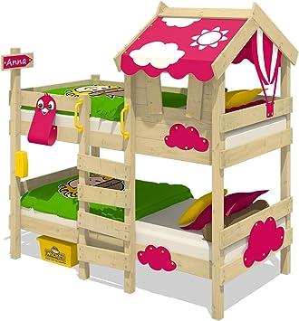 WICKEY Litera CrAzY Daisy Cama infantil Cama alta con techo, ventana, escalera y somier de madera, lona fucsia: Amazon.es: Bricolaje y herramientas