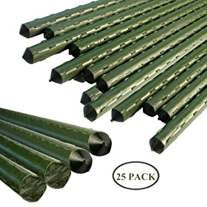 YIDIE Sturdy Metal Garden Stakes 3 Ft Plastic Coated Steel Plant Sticks,Pack of 25