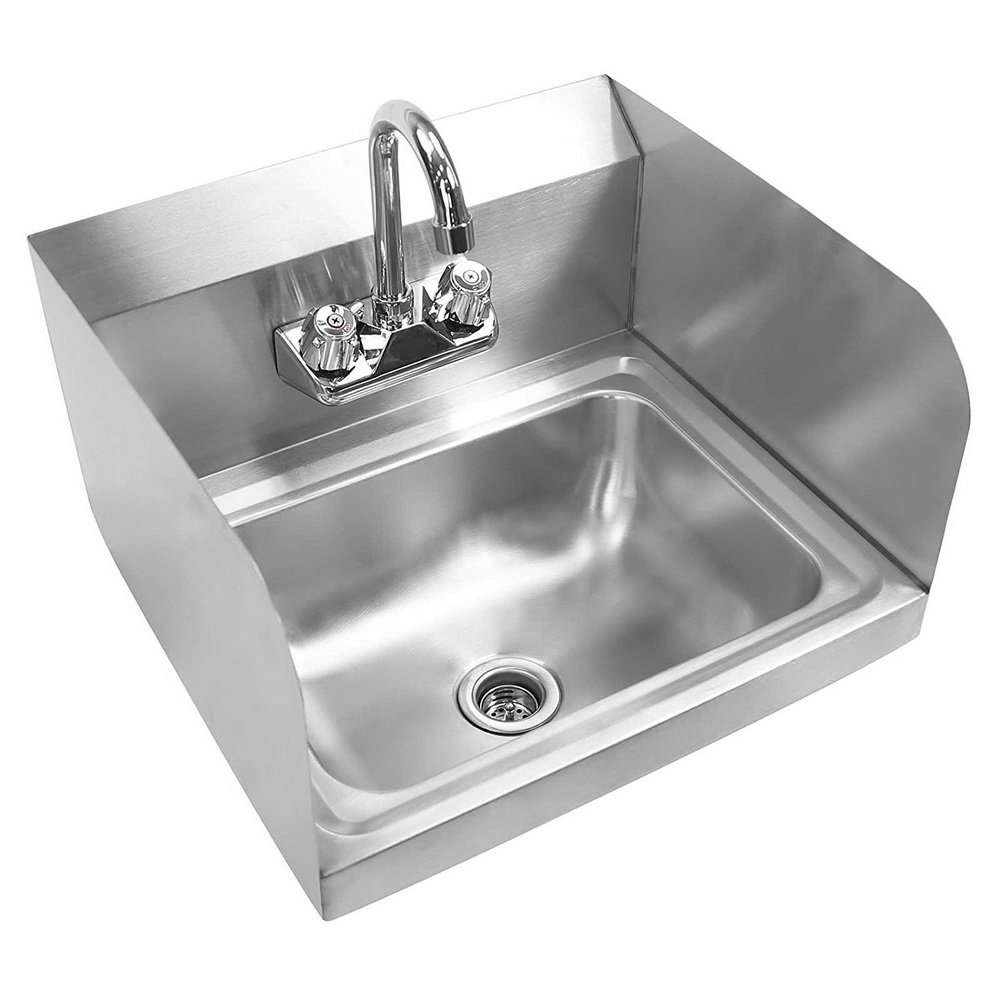 Bonnlo Commercial Stainless Steel Perp/Bar Sink Hand Wash Sink - Wall Mount Hand Washing Basin Commercial Kitchen Heavy Duty with Faucet 17'' L x 15'' W x 14'' H (With SideSplash)