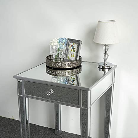 Amazon Com Mirrored Cabinet End Table 1 Drawer Mirrored