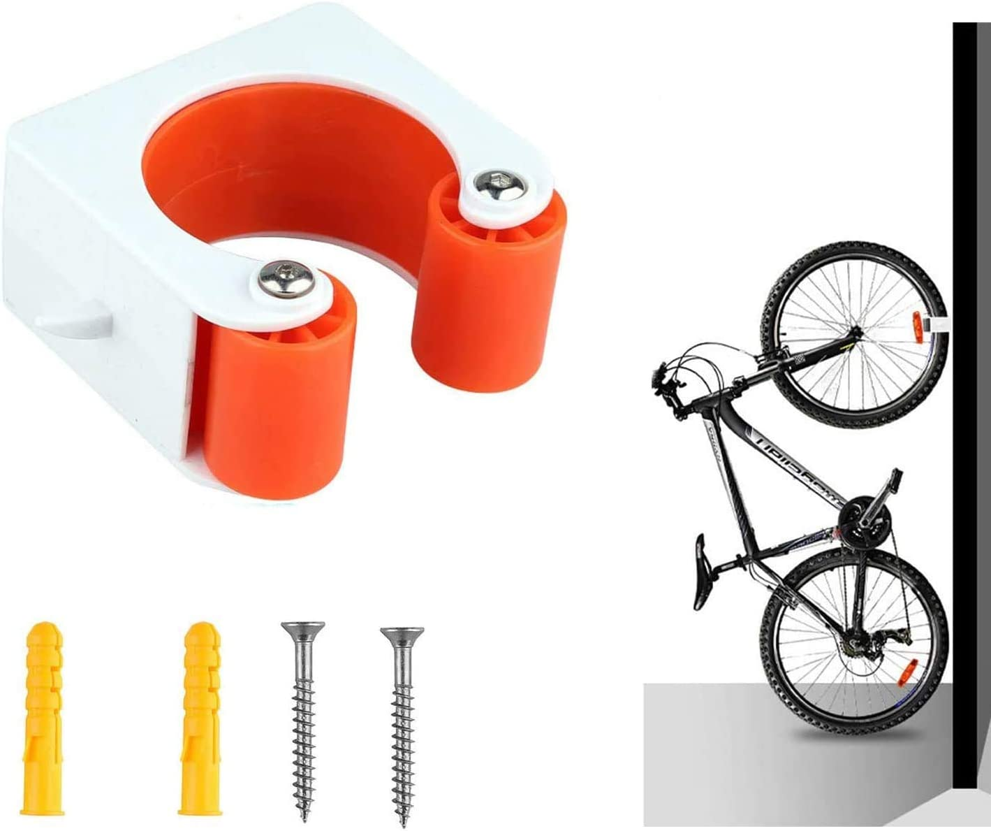 YaNovate Bike Clip, Bicycle Rack Storage Clip, Portable Indoor Outdoor Wall-Mounted Parking Storage System with Hanger Hooks to Save Space for Mountain or Road Bike