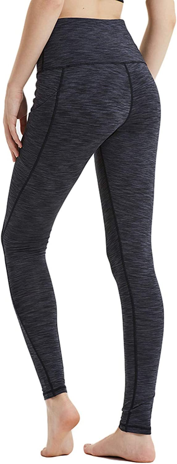 Womens High Waist Leggings with Side Pockets Tummy Control Yoga Leggings Workout Running Leggings Non See-Through Stretchy Girls Workout Leggings Womens Running Tights Sport Leggings GIFT BAG