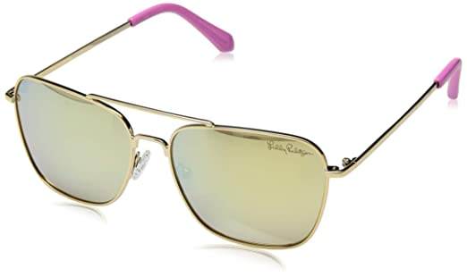 0facb76ec92 Amazon.com  Lilly Pulitzer Women s Kate Polarized Square Sunglasses Shiny  Gold 55 mm  Clothing