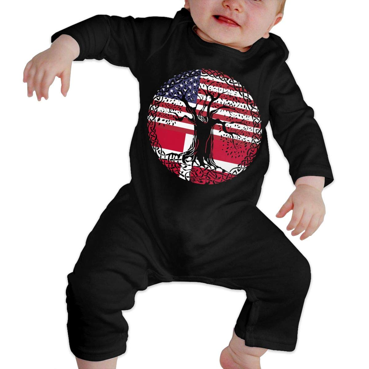 UGFGF-S3 American Heart Denmark Flag Roots Baby Girl Long Sleeve Romper Jumpsuit Jumpsuit