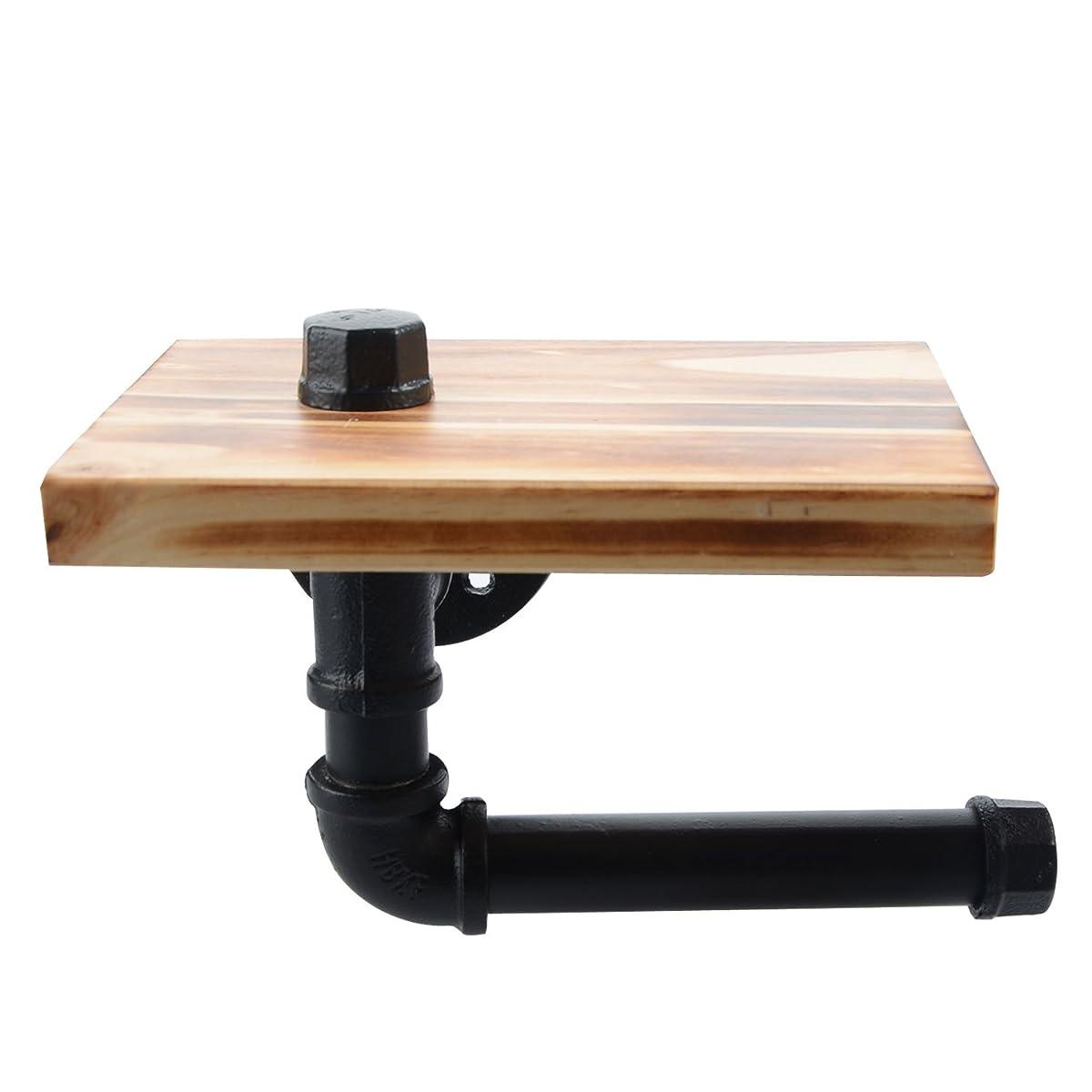 Toilet Paper Holder with Shelf, Industrial Iron Pipe Shelf/ Toilet Tissue Roll Holder - with Wooden Storage Wall Mounted Bathroom Shelf - Black
