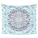 "iLeadon Tapestry Wall Hanging Decor-Blue Mandala Tapestries Wall Art Cotton Headboard Home Decor For Bedroom Dorm Living Room,60""H x 80""W"
