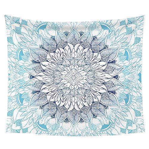 (iLeadon Tapestry Wall Hanging Decor-Blue Mandala Tapestries Wall Art Cotton Headboard Home Decor For Bedroom Dorm Living Room,60