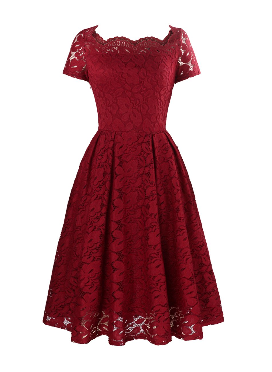 Yanmei Women s Vintage Semi Formal Dress for Evening Lace Dress with Short  Sleeve Wine Red ... 0c75e19bb