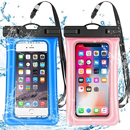 2 Pack Waterproof Phone Pouch Floating IPX8 Universal Waterproof Phone Case Underwater Dry Bag for Cell Phone Summer Water Sports and Dive Compatible iPhone Xs Max/Xr/X/8/7/6s/6 Plus Galaxy s10 6.5