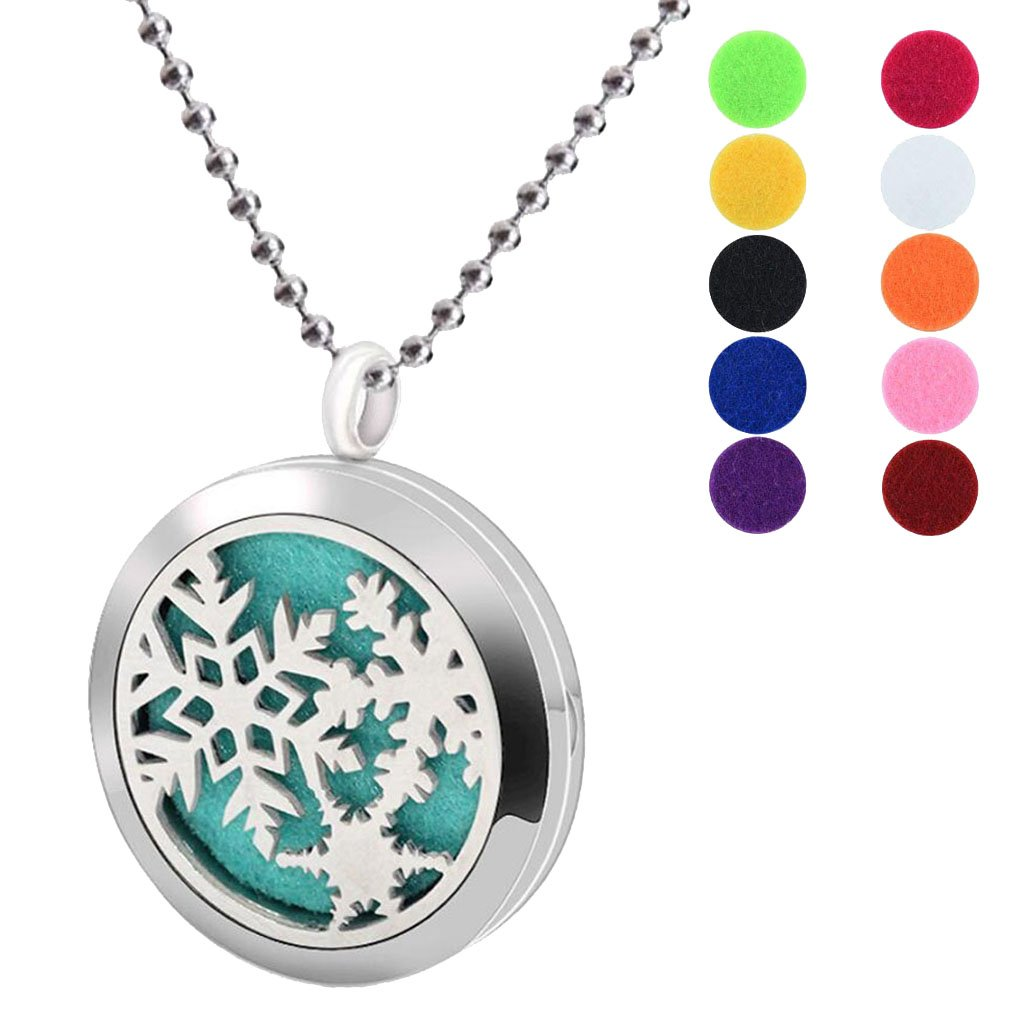 BFF Jewelry Aromatherapy Essential Oil Necklace Diffuser Locket Necklaces Christmas Snowflake Pendant