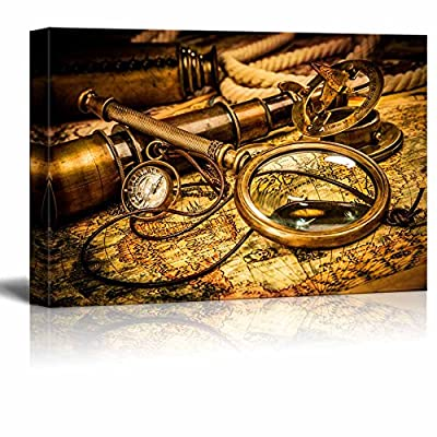 Vintage Magnifying Glass Compass Telescope and a Pocket Watch Lying on an Old Map Home Deoration ing ped - Canvas Art Wall Art - 16