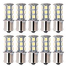 Kuman 10X LED Replacement Bulb 1156 BA15S 1141 LED 18 SMD 5050 Interior RV Camper 36W SUV MPV Car Turn Tail Signal Bulbs Brake Light Lamp Backup Lamps White KL01