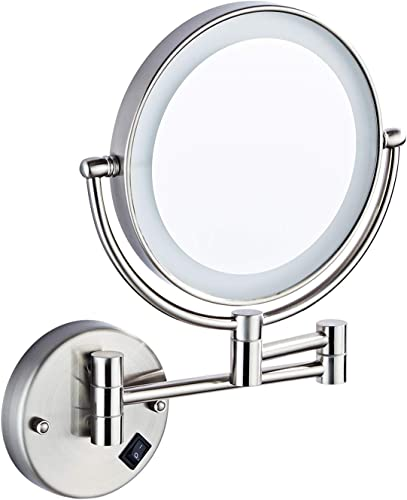 HALO 8 inch Wall Mounted Led Lighted Mirror, 5X Magnification Mirror with Switch Button, Extendable Vanity Mirror with 360 Degree Rotation for Bathroom Hotel Spa
