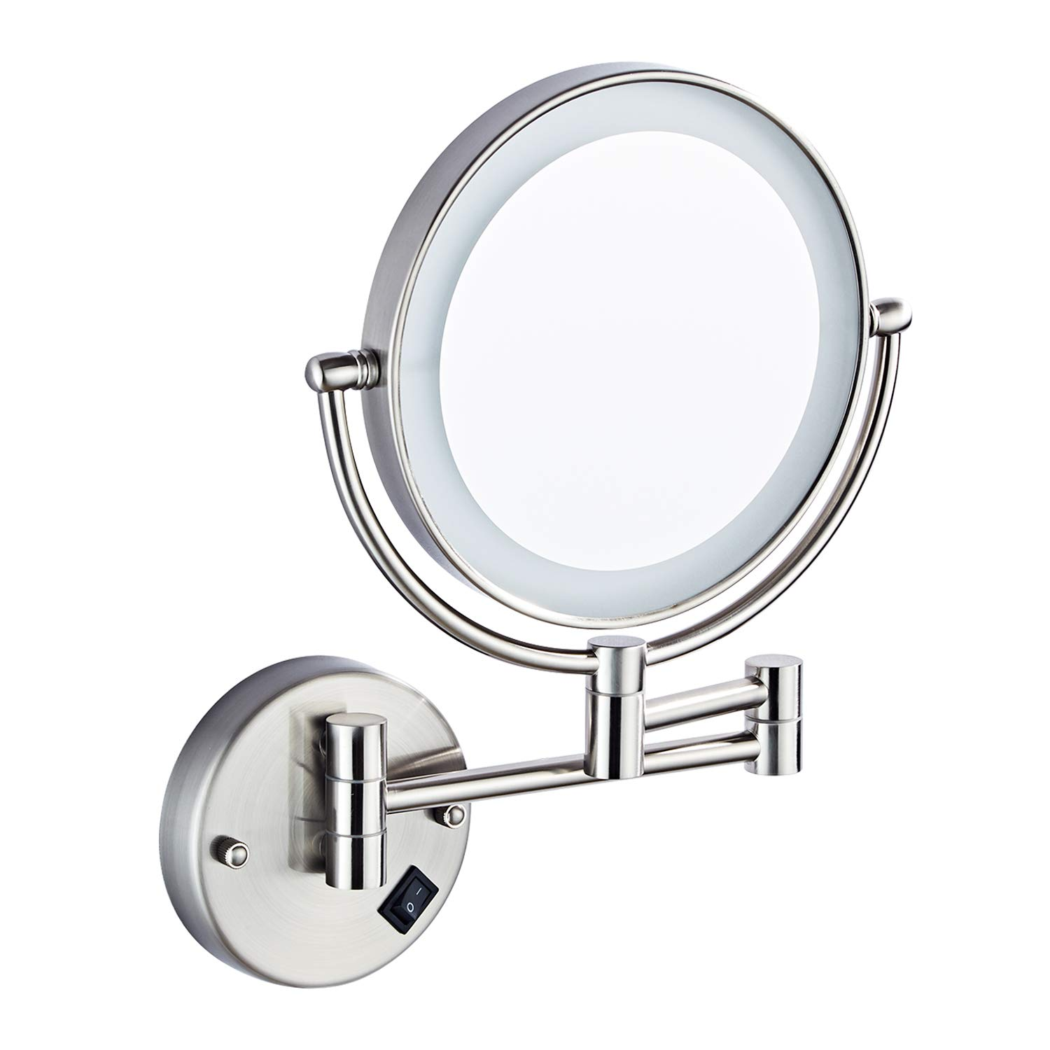Halo Sanitary 8 Wall Mounted Led Lighted Mirror, 5X Magnification Mirror with Switch Button, Extendable Vanity Mirror with 360 Degree Rotation for Bathroom Hotel Spa