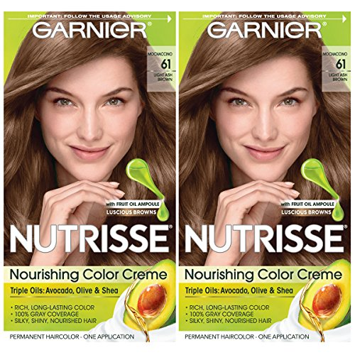 Garnier Hair Color Nutrisse Nourishing Creme, 61 Light Ash Brown (Mochaccino), 2 Count