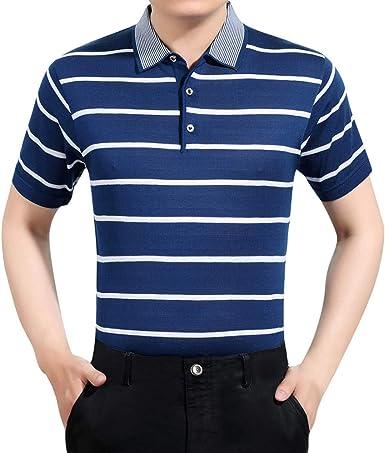 beautyjourney Polos de Manga Corta para Hombre Camisas de Verano para Hombre Camiseta Rayas Padre Camisa Slim Fit de Ocio de Negocios Tops: Amazon.es: Ropa y accesorios