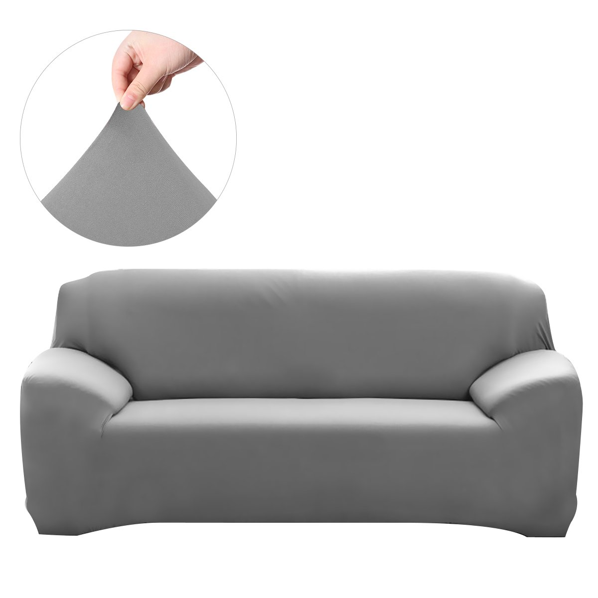 WINOMO Sofa Furniture Protector Loveseat High Elasticity Anti-mite Chair Covers Slipcover Couch 3 Seater(Grey))