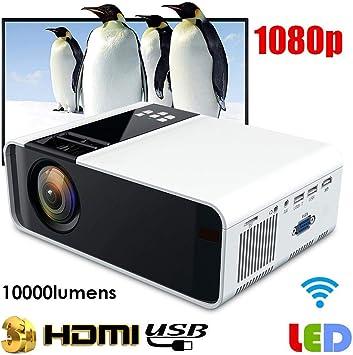 Proyector LED 1080P, proyector de Cine en casa Ultra-HD Blanco ...