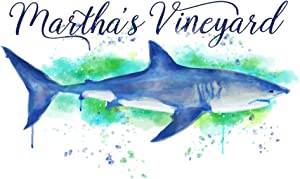 Martha's Vineyard - Great White Shark - Watercolor (24x36 Giclee Gallery Print, Wall Decor Travel Poster)