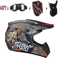 M-GLT Motocross Helm Mx Motorrad Offroad Roller ATV Helm D.o.t AM Mountainbike Integralhelm Mit Brille/Winddichte Maske/Handschuhe für Erwachsene Jugend Kinder Kinder