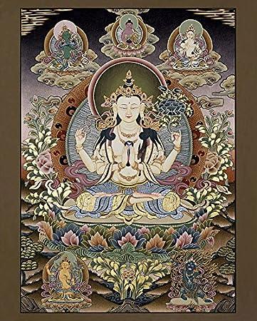 Thangka Avalokiteshvara Lokeshvar Druck Kunstdruck Reproduktion 40x50 cm