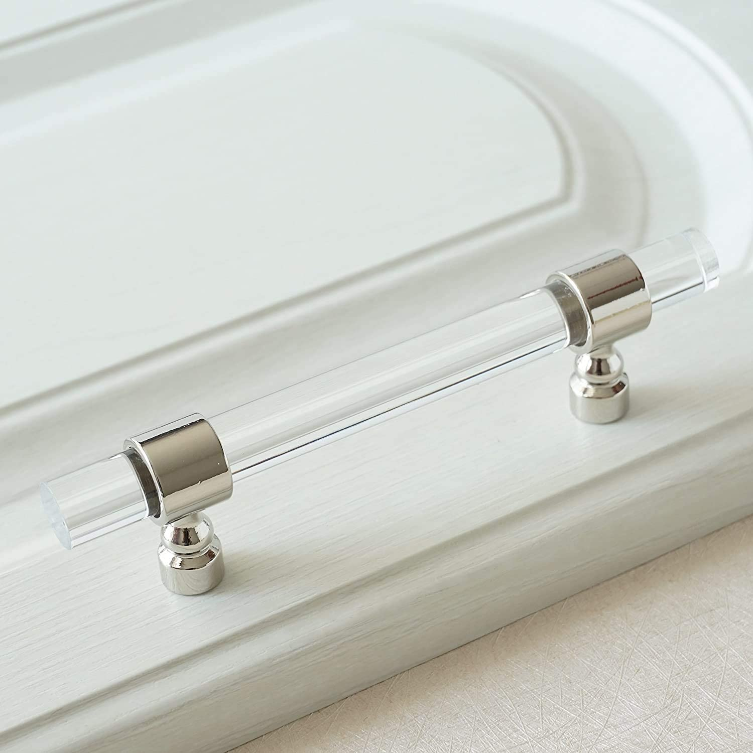 "LBFEEL 4 Pack 3 1/2"" Hole Centers Acrylic Drawer Pulls Clear Lucite Dresser Handle Crystal Kitchen Cabinet Knob Bathroom Hardware 89mm (3 1/2"" Hole Centers, 4 Pack)"