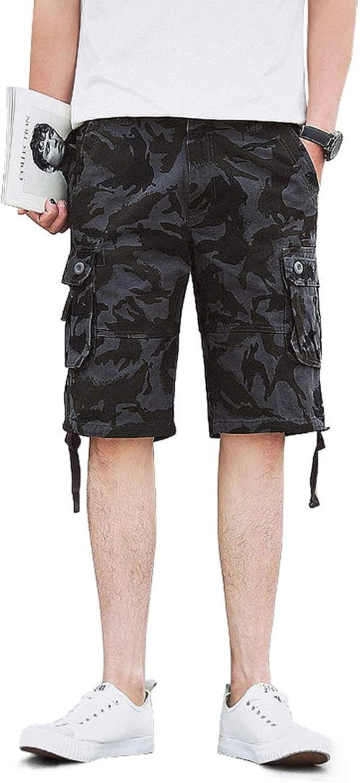 AUYUG Mens Camo Cargo Shorts Summer Cotton Chino Combat Half Pant Camouflage Shorts