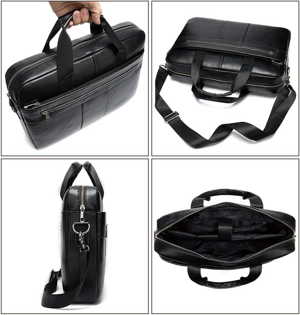 echtes Leder-M/änner Lehrertasche Schulranzen Umh/ängetasche M/änner Frauen Leichte Wander Spielraum-Rucksack,Black-39cm*7cm*28cm QJXB 14 Laptop-Aktenkoffer