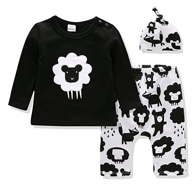 de22a654820a2 Baby Clothes Boys and Girls Clothing Set Long Sleeve Tshirt+Printing Pants+Hat  3PCS