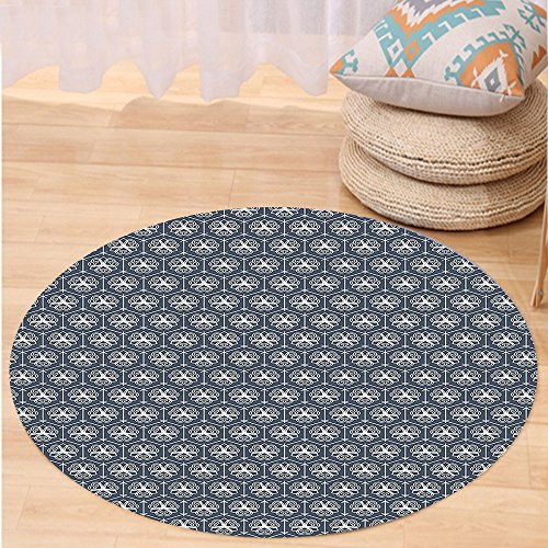VROSELV Custom carpetJapanese Attached Hexagons with Ornate Floral Figures Geometric Pattern for Bedroom Living Room Dorm Charcoal Grey Dark Blue White Round 72 inches