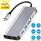 USB C Hub HDMI Ethernet,8 in 1 Type C Adapter Samsung DeX Station for Galaxy S9/S8/Note 9/8,Nintendo Switch HDMI Adapter with 1000M RJ45,PD Port,3.5mm Audio,2USB3.0,for MacBook Pro 2017 2018